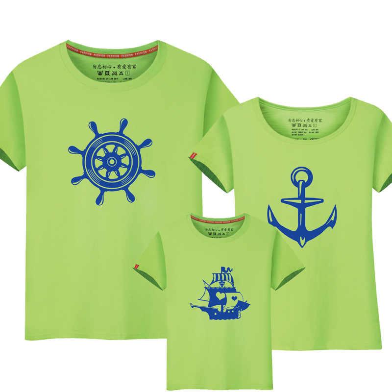1 ชิ้นฤดูร้อนสำหรับครอบครัวครอบครัวใหม่ดู Anchor T เสื้อพ่อแม่เด็กการ์ตูนชุดสำหรับครอบครัว