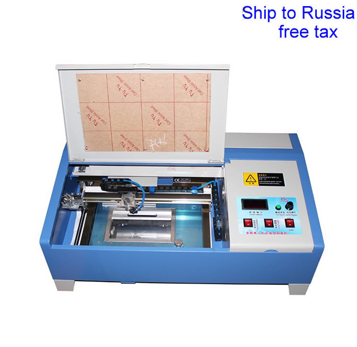 3020 40W CO2 laser carving machine with digital function and honeycomb support USB to Russia free tax stamp laser machine 3020 with lift system up and down function 40w heigh configration