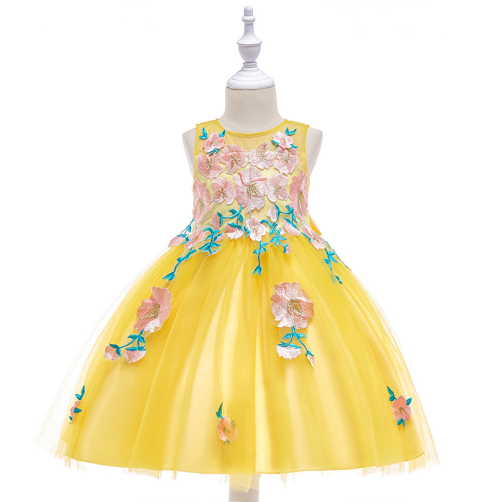 2018 New White Yellow Pale Pink Floral Lace Children Evening Ball Gown for 3 To 12 Year Kid Dress for Girl Party and Elegant high waist floral print elegant ball gown midi skirt for women