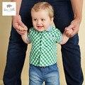 DB3060 dave bella bebê verão meninos camisa meninos moda tartan verde topos de algodão roupas de bebê de alta qualidade xadrez grade camisas
