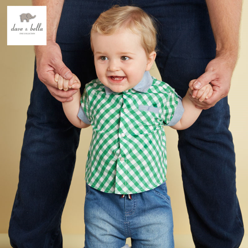 DB3060 dave bella summer baby boys green shirt boys fashionable font b tartan b font cotton