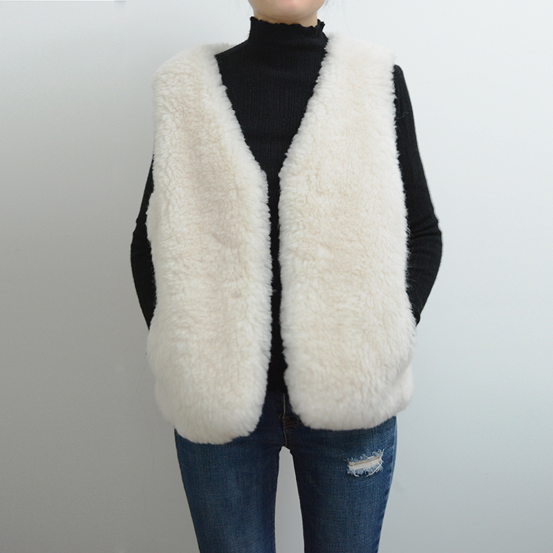 Short Style Women's Real Fur Vest White Real Wool Wasitcoat Rf0143