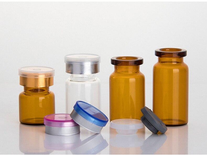 Image 4 - 50 pièces/lot4ml 5ml 6ml 8ml 10ml 12ml 15ml 20ml 30ml flacon en verre transparent pour Injection ambre et bouchon amovible petites bouteilles de médicaments en verreGourdes   -