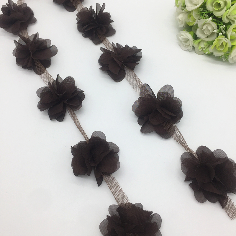 CHOCOLATE BROWN fabric flower decorative HAIR CLIP accessory