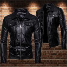 Casual fashion motorcycle leather jacket men loose pu clothes mens jackets Multi-pocket lapel coats biker black S - 2XL