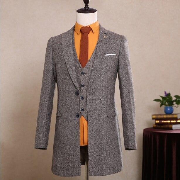 2017 top mens gray renta gangster tuxedo long frock coat costume tux