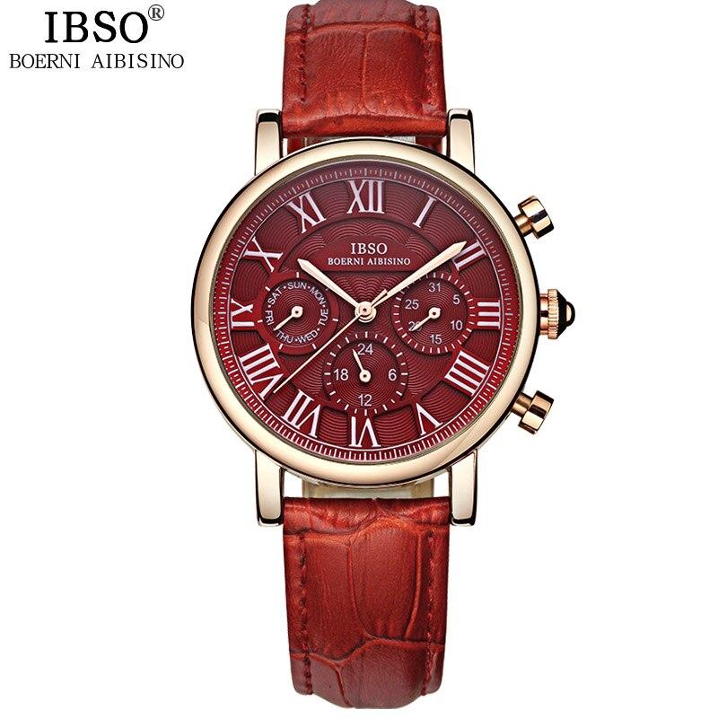 IBSO marque haute qualité luxe rouge femmes montres 2018 semaine et calendrier Montre de mode femmes véritable bracelet en cuir Montre Femme