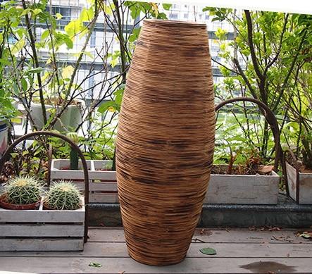 Kínai fehér és barna szürke bambusz padló váza nagy kézműves - Lakberendezés - Fénykép 4