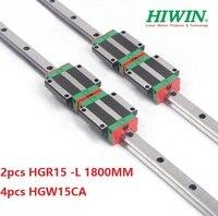 2pcs 100% original Hiwin linear rail guide HGR15 L 1800mm + 4pcs HGW15CA ( HGW15CC ) linear flange carriage block for cnc