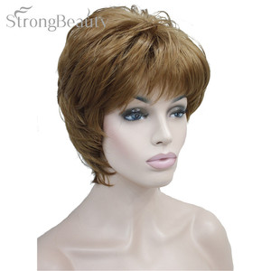 Image 2 - Strong Beauty Female Wigs Synthetic Short Body Wave Blonde Silver Brown Wig For Black Women