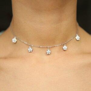 white pink enamel daisy flower charm choker 925 sterling silver 2019 summer cutest lovely new flower elegant necklaces(China)