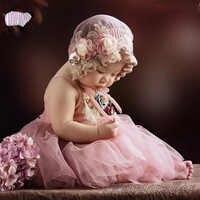 Bebé niña fotografía encaje sombrero + conjunto de vestido accesorios Infante 1 er cumpleaños foto sesión de fotos Rosa vestidos ropa bebe foto Prop