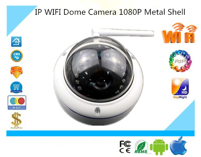 IP Wireless WIFI AP Dome Camera 1280 1080 Metal Shell Antiriot Infrared NightVision with IRC P2P
