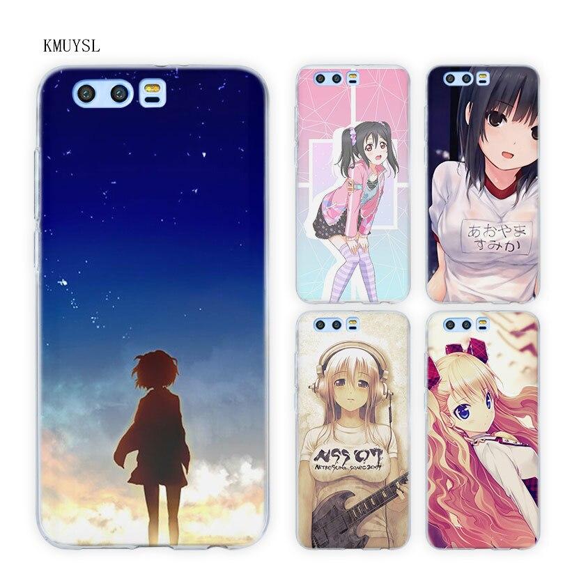 Galleria fotografica KMUYSL Dolce Ragazza Anime Comic TPU Trasparente Soft Cover Case for Huawei <font><b>Honor</b></font> <font><b>9</b></font> 8 Lite 7X 6A 6X 6C Pro 10