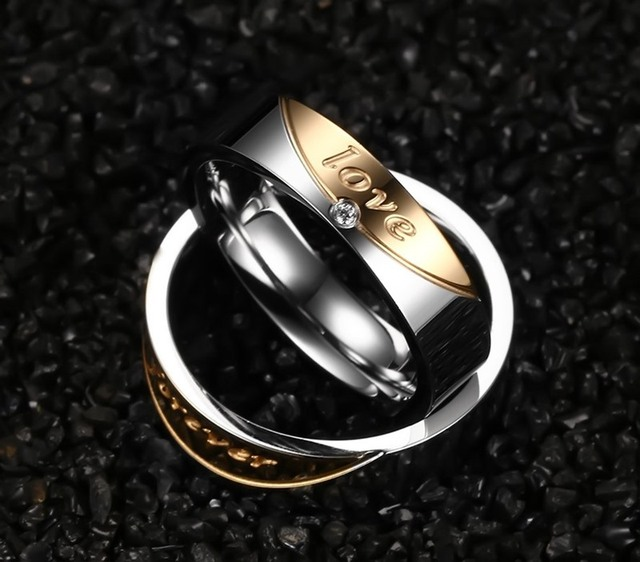 AAA CZ Stone Gold-color Couple Promise