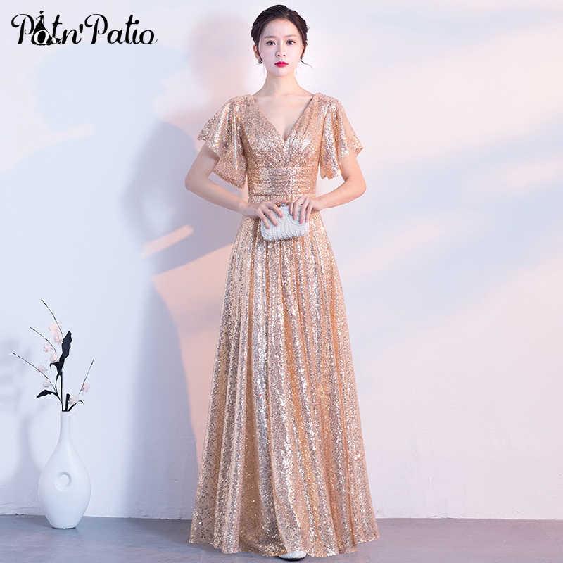 4f779d6ed1f Золотые вечерние платья Длинные 2018 элегантное v-образный вырез А-силуэта  длиной до пола