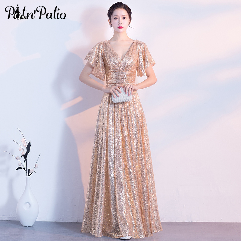 Gold   Evening     Dresses   Long 2018 Elegant V-neck A-line Floor-Length Sequined Formal   Evening   Gown With Short Cap Sleeves Plus Size