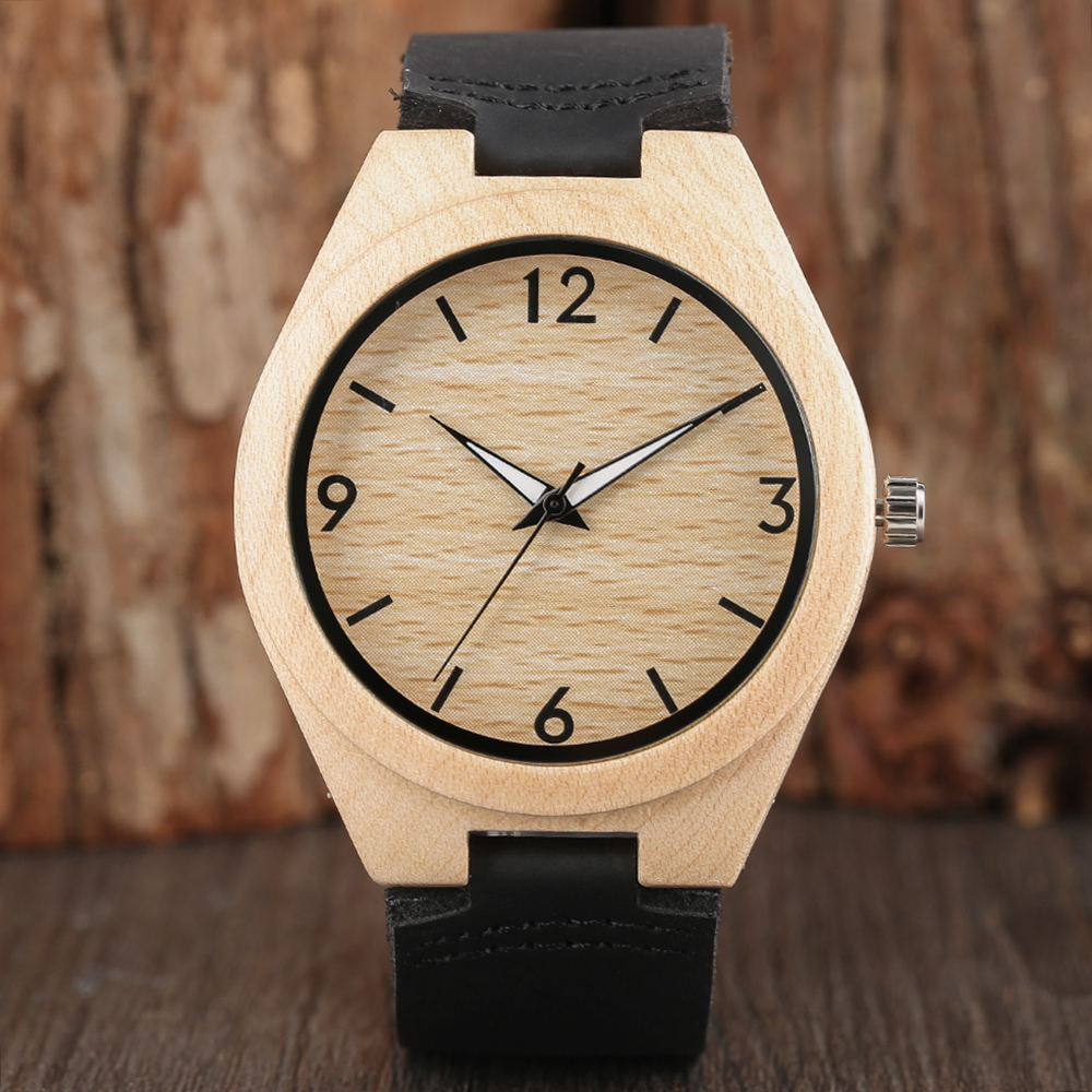 Simple Style Wooden Wathces Genuine Leather Strap Nature Bamboo Bangle Novel Women Men Wrist Quartz Watch Fashion Item Free Ship simple handmade wooden nature wood bamboo wrist watch men women silicone band rubber strap vertical stripes quartz casual gift page 8