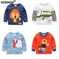 1-6Y nuevo muchachos de la llegada camiseta del bebé niños de la camiseta de la blusa ropa para niños otoño primavera camisetas de manga larga chaquetas