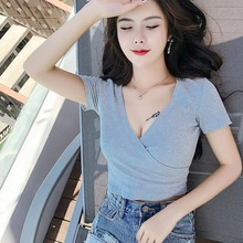 Sexy Women Ladies Summer Slim Crop Tops Casual Solid Short Sleeve Tshirt Fashion Deep V Neck Cotton T Shirt