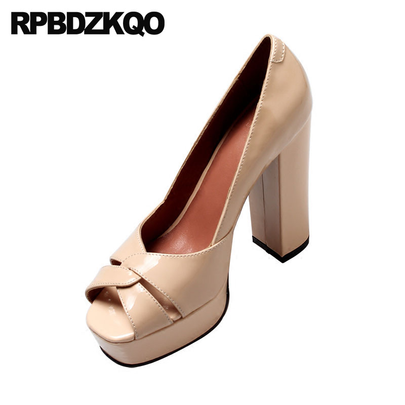 2d7fbaf10c38 platform nude shoes ultra super pumps genuine leather wine red fish mouth  fetish extreme high heels chunky patent peep toe women