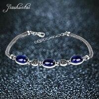 JIASHUNTAI 925 Sterling Silver Blue Sapphire Chalcedony Gemstone Bracelets For Women Thai Silver Fine Jewelry