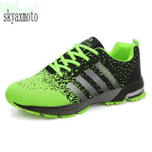 Plus Size 35-47 Running Shoes for Men Lace Up Athletic Shoes 2018 Outdoor Walking Jogging Shoes Men Air Mesh Breathable Sneakers