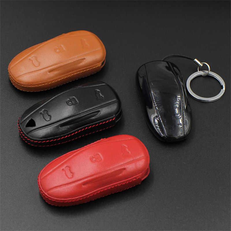 DJSona negro rojo coche de cuero genuino carcasa de protección para llave protectora completa clave Fob para Tesla modelo X S X gran oferta