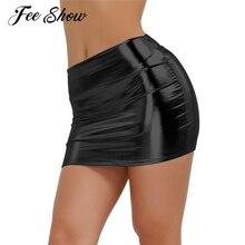 b2a3af30a Sexy Women Shiny Metallic Wet Look Faux Latex Skirt Clubwear Stripper Pole  Dancewear Women Wetlook Patent