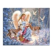 Engel und die hirsche 50×40 Diy diamant malerei quadrat bohrer rhinestone klebte kreuzstich maurerhandwerk strass Hand