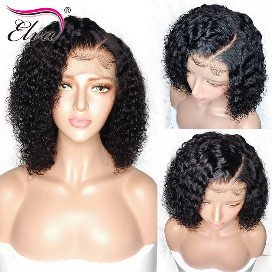 13x6 Lace Front Human Hair Wigs For Black Women Glueless Brazilian Curly Remy Hair Short Lace Front Bob Wig With Baby Hair Elva