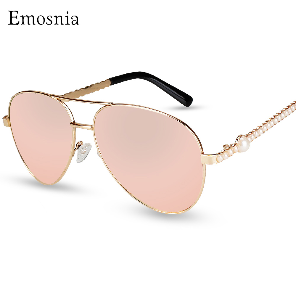 Emosnia New Fashion Pilot Women Sunglasses 2017 Pearl Luxury Brand Designer Sunglass Vintage Pink Sun Glasses Oculos De Sol