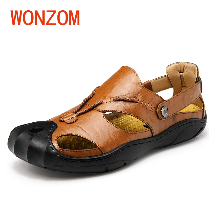 WONZOM Size 38-44 High Quality Genuine Leather Men Sandals New Arrival Sandalias Hombre Comfort Summer Sandals Sapato Masculino