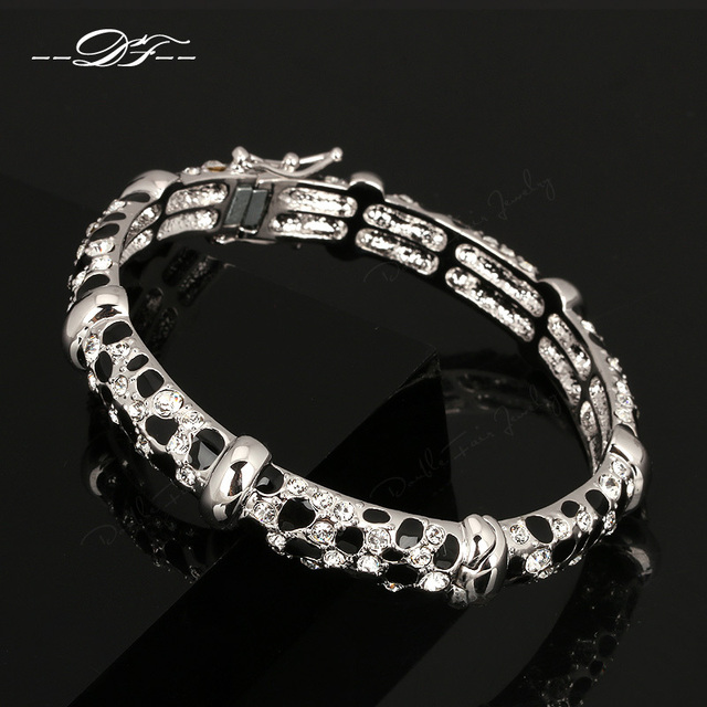 Exaggerted Anti-Allergy Luxury Leopard Bracelets & Bangles White Gold Plated Fashion Crystal Jewelry For Women pulseiras DFB027