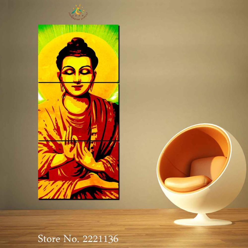 Colorful Buddha Wall Art Canvas Pattern - The Wall Art Decorations ...