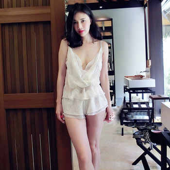Summer White Floral Embroidered Silk Women 3 Pieces Pajamas Sets Slip Shorts Sexy Lingerie Female Underwear 5591