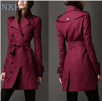 NXH 2018 Autumn New Brand Women Trench Coat Long Windbreaker Europe America Fashion Trend Double-Breasted Slim Long Trench