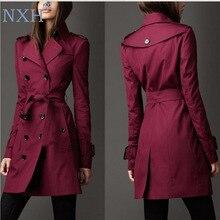 NXH 2018 Autumn New Brand Women Trench Coat Long Windbreaker