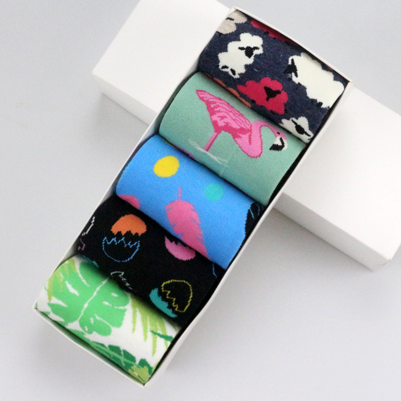 5 Pairs Egg Rabbit Feather Sheep Leaves Socks Men Personality Couples Funny Happy Cotton Women Female