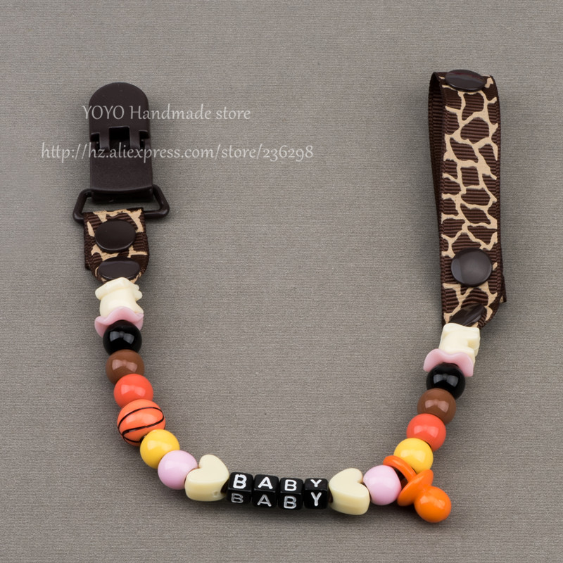 Personalised -Any name Hand made funny chocolate beads dummy clip dummy holder pacifier clips soother chain for baby