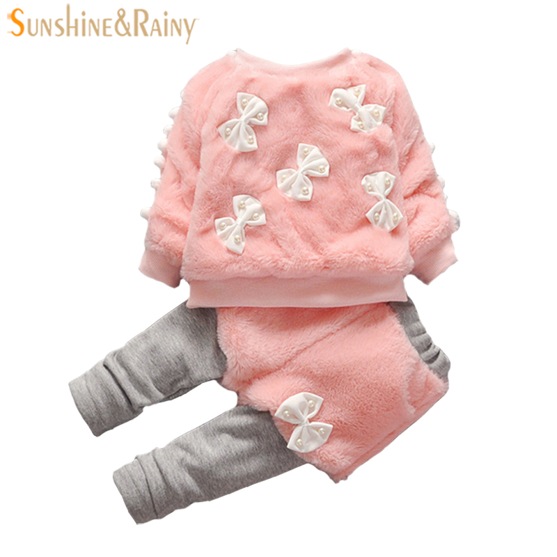 1-3Y Girls Winter Clothing Sets For Kids Sport Suit Baby Faux Fur Coat + Pants Children Outfit Sets Warm Fashion New Design
