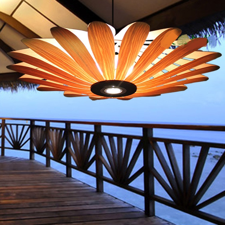South East Asian Chinese wood Pendant Light project real wood creative simple American style villa restaurant Nordic droplight south korea's role in building the east asian community