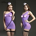 2017 new arrival sexy lingerie hot women print Inclined shoulder sleeveless erotic lingerie Package buttocks sexy underwear