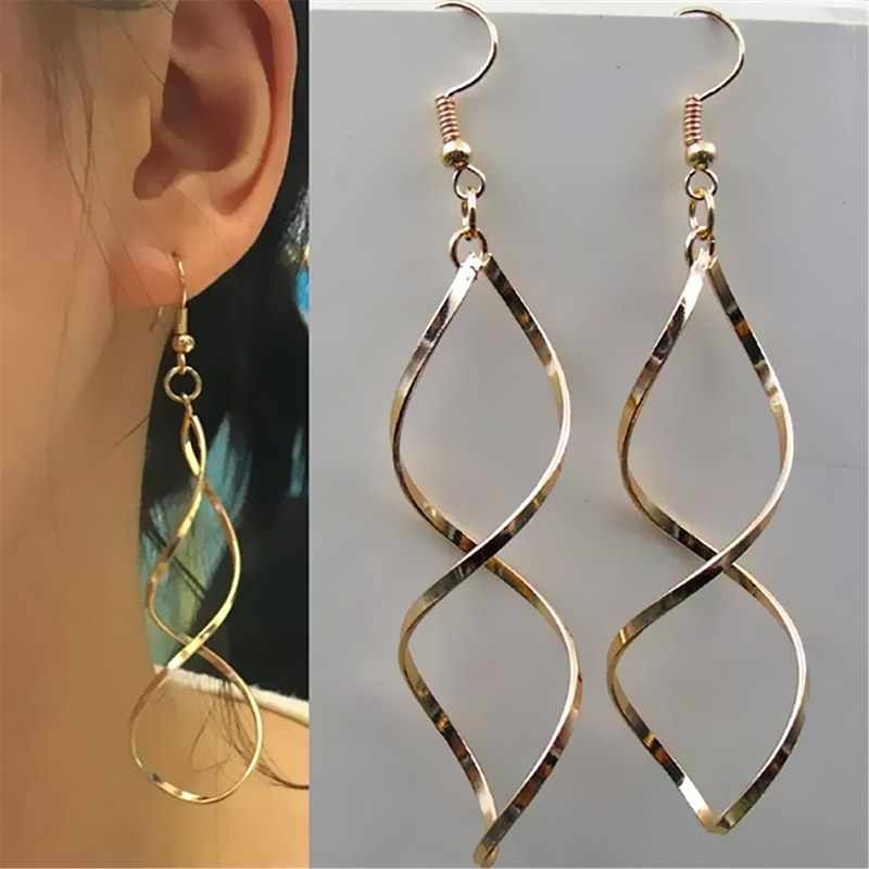 New Simple Spiral Curved Long Drop Earrings for Women 2019 Wave Design Fashion Jewelry Wholesale Party Wedding Earrings