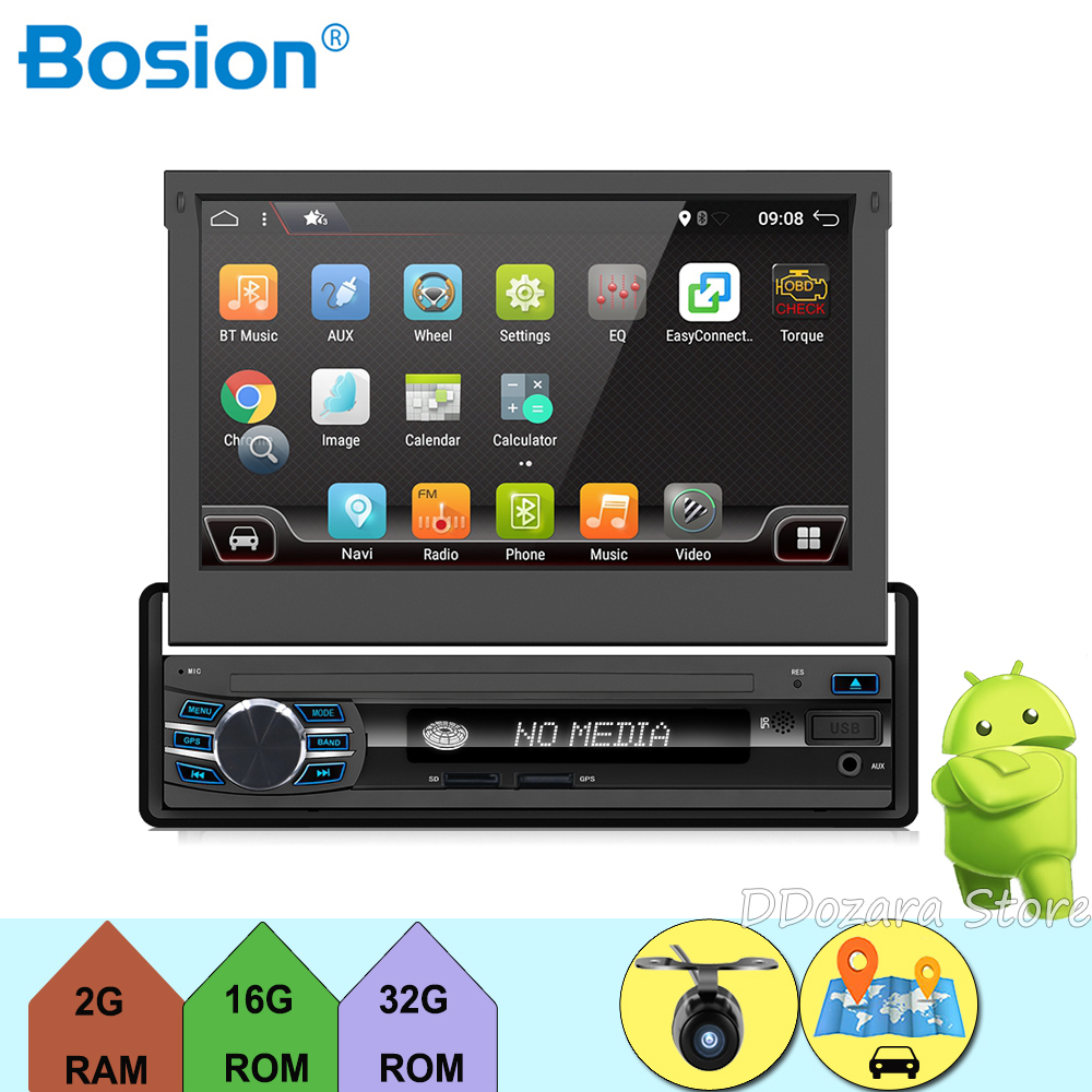 Car Radio Stereo Player Bluetooth Phone AUX IN MP3 FM/USB/1 Din/remote android 6.0 In dash retractable screen