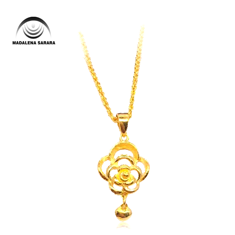 MADALENA SARARA Pure Gold FlowerPendant 18k Pure Gold Chain Necklace Small Clavicle Water Wave Necklace image