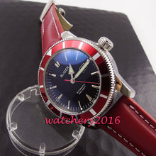 Fashion Luxury 46mm bliger black dial red bezel luminous hands Leather strap Automatic Men s business