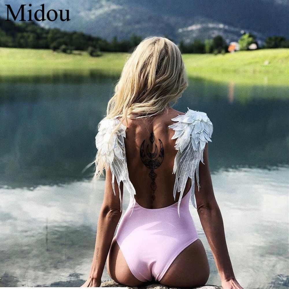 Bikini brasileño Sexy traje De baño De ala rosa sin espalda 3D body flor traje De baño corte Monokini Maillot De Bain Femme traje