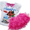 Verão novo conjunto de roupas meninas infantil moana vestidos para meninas t shirt + tutu dress 2 pcs crianças do estilo da forma roupas de menina