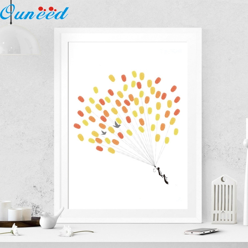 Ouneed Canvas Wedding Tree Fingerprint Guest Book Wedding Gift Decoration Party Supply Baby Shower Fingerprint Tree Ink Newest венеция букет из тюльпанов фиолетового цвета